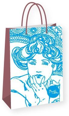 Darčeková taška Alfons Mucha – Topaz, Fresh Collection, stredná