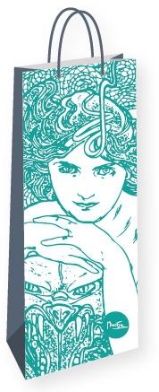 Darčeková taška na fľašu Alfons Mucha – Emerald, Fresh Collection