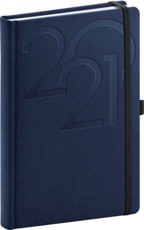 Denný diár Ajax 2021, modrý, 15 × 21 cm