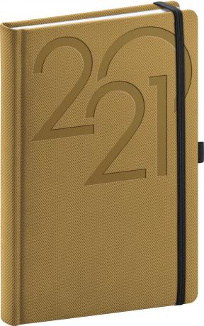 Denný diár Ajax 2021, zlatý, 15 × 21 cm