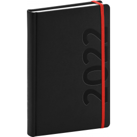 Denný diár Avilla 2022, čierno–červený, antibakteriálne, 15 × 21 cm
