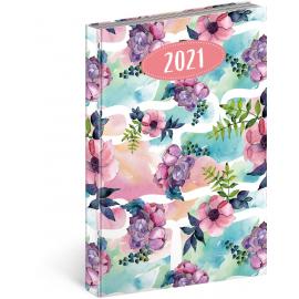 Denný diár Cambio Fun 2021, Kvety, 15 × 21 cm