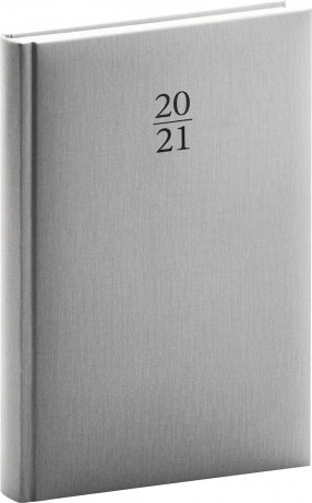 Denný diár Capys 2021, strieborný, 15 × 21 cm