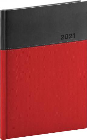 Denný diár Dado 2021, červeno-čierny, 15 × 21 cm