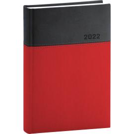Denný diár Dado 2022, červeno–čierny, 15 × 21 cm