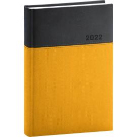 Denný diár Dado 2022, žlto–čierny, 15 × 21 cm