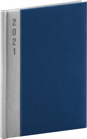 Denný diár Dakar 2021, strieborno-modrý, 15 × 21 cm