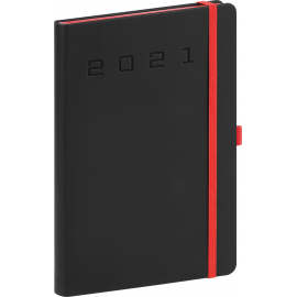 Denný diár Nox 2021, čierny-červený, 15 × 21 cm