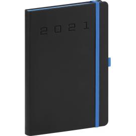 Denný diár Nox 2021, čierny-modrý, 15 × 21 cm