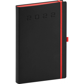 Denný diár Nox 2022, čierny–červený, 15 × 21 cm