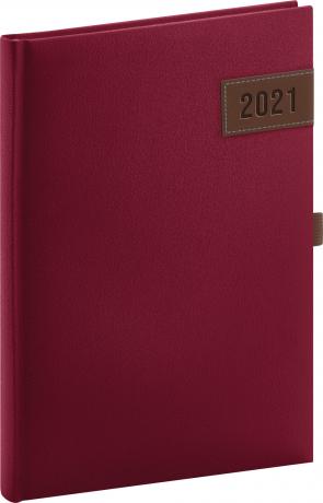 Denný diár Tarbes 2021, červený, 15 × 21 cm