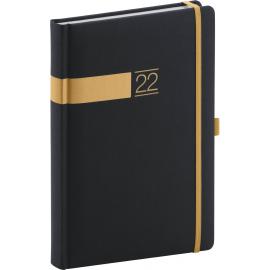 Denný diár Twill 2022, čierno–zlatý, 15 × 21 cm