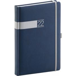 Denný diár Twill 2022, modro–strieborný, 15 × 21 cm