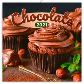 Poznámkový kalendár Čokoláda 2021, voňavý, 30 × 30 cm