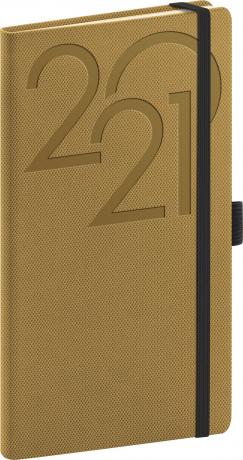 Vreckový diár Ajax 2021, zlatý, 9 × 15,5 cm