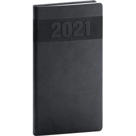 Vreckový diár Aprint 2021, čierny, 9 × 15,5 cm