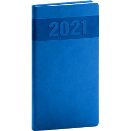 Vreckový diár Aprint 2021, modrý, 9 × 15,5 cm