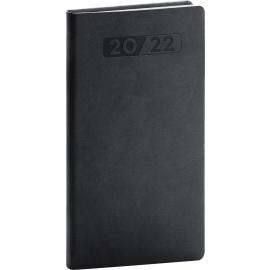 Vreckový diár Aprint 2022, čierny, 9 × 15,5 cm