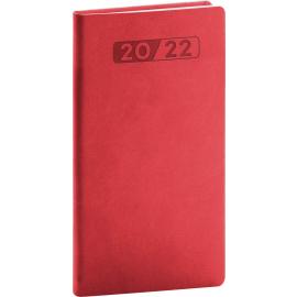 Vreckový diár Aprint 2022, červený, 9 × 15,5 cm
