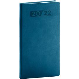 Vreckový diár Aprint 2022, petrolejovo modrý, 9 × 15,5 cm