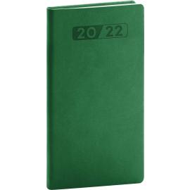 Vreckový diár Aprint 2022, zelený, 9 × 15,5 cm