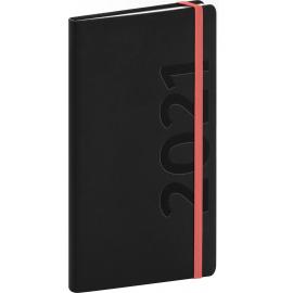 Vreckový diár Avilla 2021, čierno-oranžový, 9 × 15,5 cm