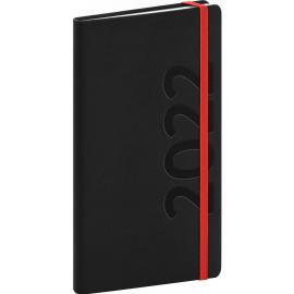 Vreckový diár Avilla 2022, čierno–červený, antibakteriálne, 9 × 15,5 cm