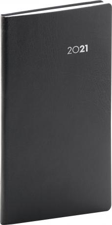 Vreckový diár Balacron 2021, čierny, 9 × 15,5 cm