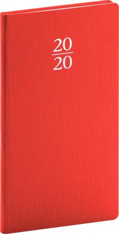 Vreckový diár Capys 2020, červený, 9 x 15,5 cm