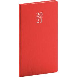 Vreckový diár Capys 2021, červený, 9 × 15,5 cm