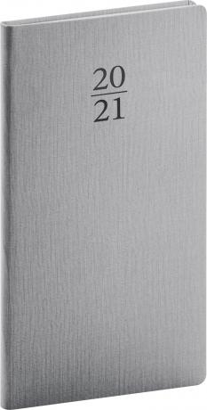 Vreckový diár Capys 2021, strieborný, 9 × 15,5 cm