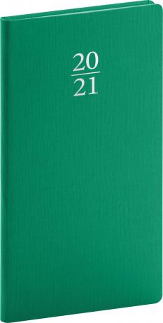 Vreckový diár Capys 2021, zelený, 9 × 15,5 cm