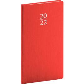 Vreckový diár Capys 2022, červený, 9 × 15,5 cm