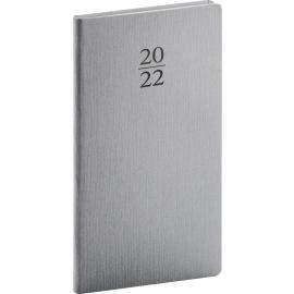 Vreckový diár Capys 2022, strieborný, 9 × 15,5 cm