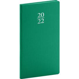 Vreckový diár Capys 2022, zelený, 9 × 15,5 cm