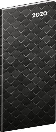 Vreckový diár Čierny kov SK 2020, plánovací mesačný, 8 x 18 cm