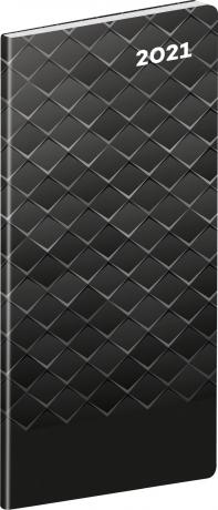 Vreckový diár Čierny kov SK 2021, plánovací mesačný, 8 × 18 cm