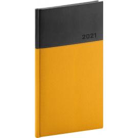 Vreckový diár Dado 2021, žlto-čierny, 9 × 15,5 cm