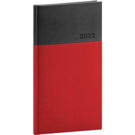 Vreckový diár Dado 2022, červeno–čierny, 9 × 15,5 cm