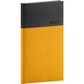 Vreckový diár Dado 2022, žlto–čierny, 9 × 15,5 cm