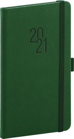 Vreckový diár Diamante 2021, zelený, 9 × 15,5 cm