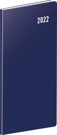 Vreckový diár Modrý 2022, plánovací mesačný, 8 × 18 cm
