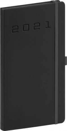 Vreckový diár Nox 2021, čierny-čierny, 9 × 15,5 cm