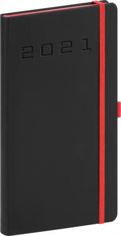 Vreckový diár Nox 2021, čierny-červený, 9 × 15,5 cm