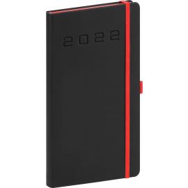 Vreckový diár Nox 2022, čierny–červený, 9 × 15,5 cm