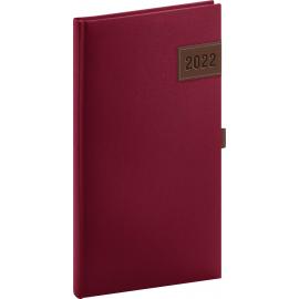 Vreckový diár Tarbes 2022, červený, 9 × 15,5 cm