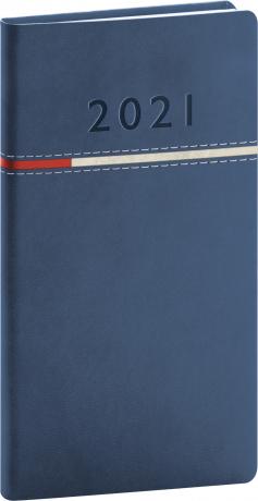 Vreckový diár Tomy modro-červený, 2021 9 × 15,5 cm