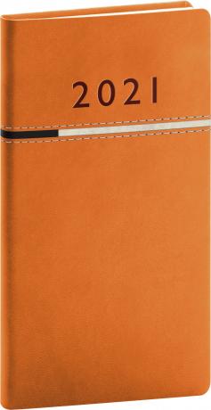 Vreckový diár Tomy oranžovo-čierny, 2021 9 × 15,5 cm