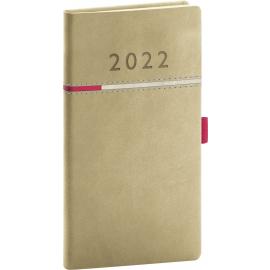 Vreckový diár Tomy béžovo–ružový, 2022 9 × 15,5 cm
