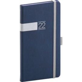 Vreckový diár Twill 2022, modro–strieborný, 9 × 15,5 cm